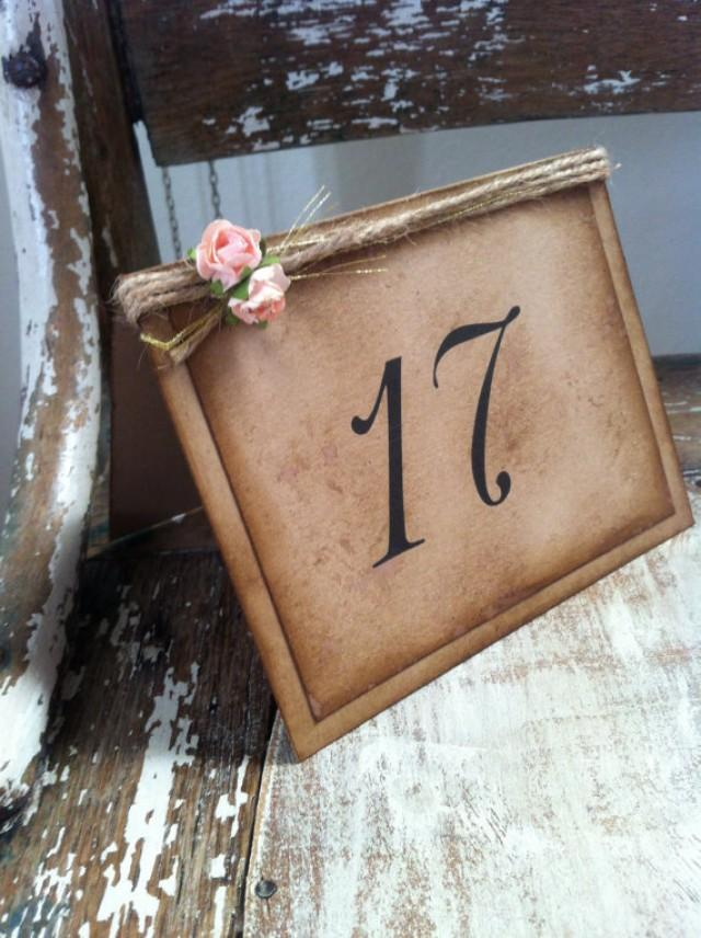 vintage rustic wedding romantic tent table numbers
