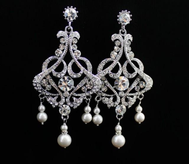 Pearl & Crystal Earrings, Crystal Chandelier Earrings, Statement ...