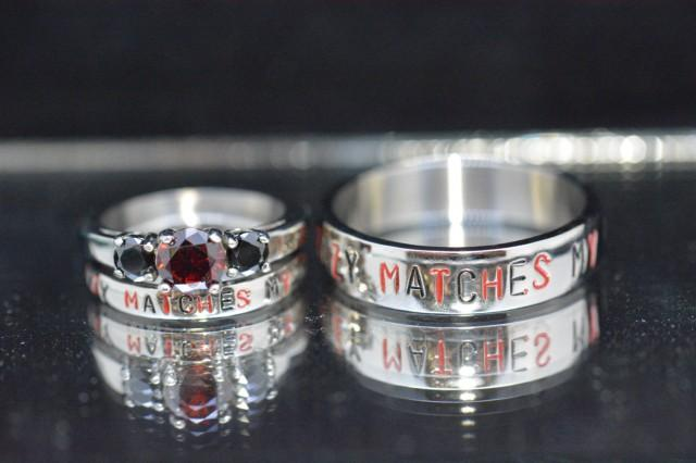 Nickname Rings Your Crazy Matches My Comic Inspired Stainless Steel Wedding Set Lady Deadpool And 2540940