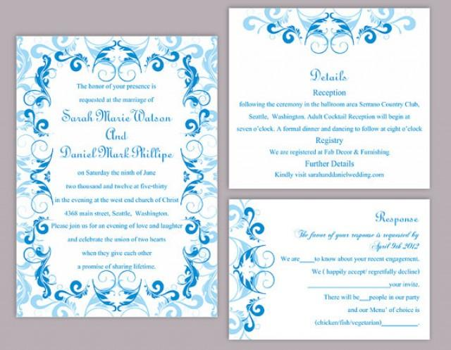 Diy Wedding Invitation Template Set Editable Word File Instant Download Printable Blue Invitation Aqua Blue Invitation Elegant Invitations 2541971 Weddbook