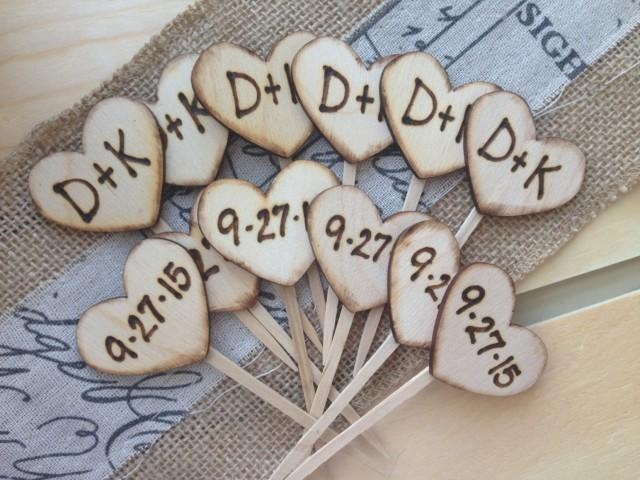 Cupcake Toppers Personalized Wood Hearts With Carved