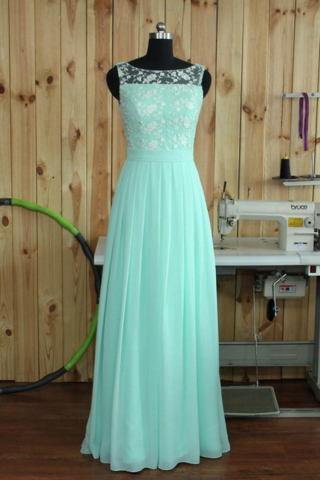2016 Mint Lace Chiffon Bridesmaid Dress Boat Neck Wedding
