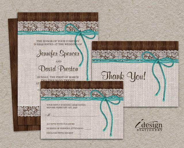 Printable Wedding Invitation Sets: DIY Printable Rustic Turquoise Wedding Invitation Sets