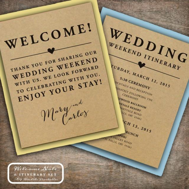 Do You Buy A Gift For A Destination Wedding: Wedding Welcome Note Itinerary Double Sided Custom