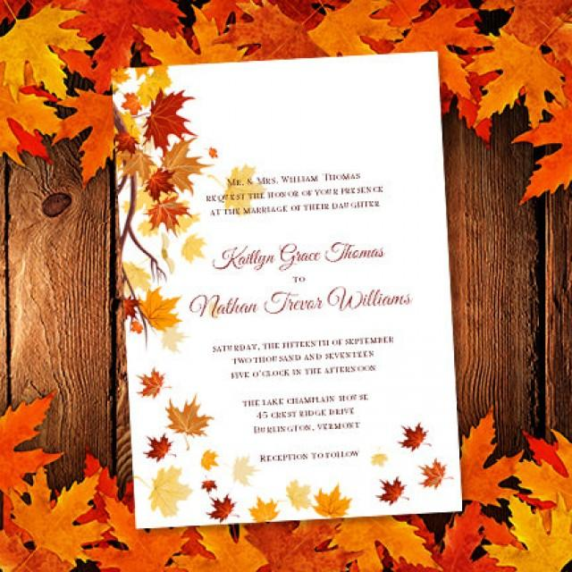 Printable Wedding Invitation Template Falling Leaves Make