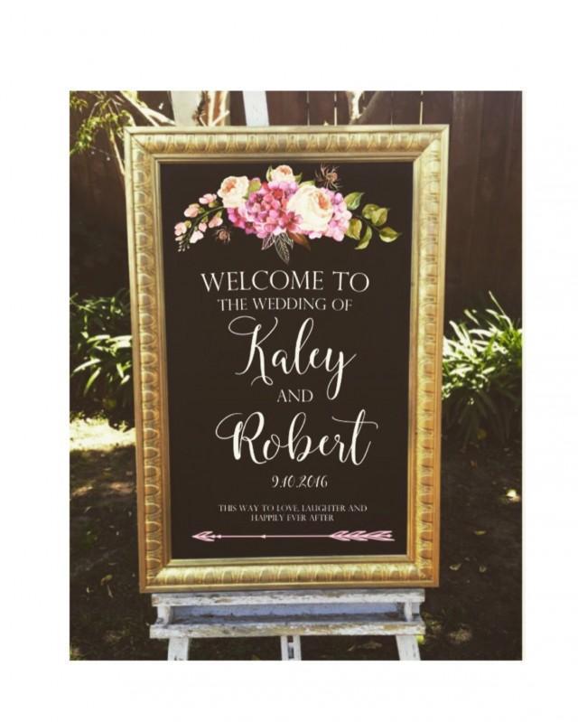 Welcome Wedding Sign Framed Chalk Art With Gold Frame