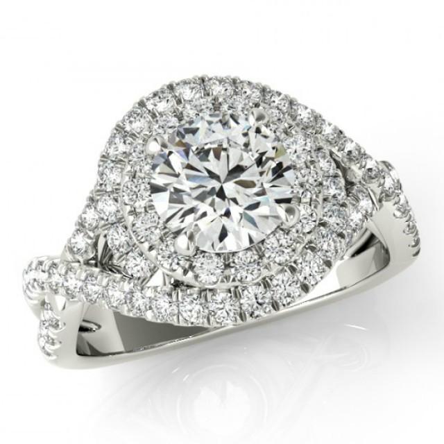 Forever One Moissanite & Diamond Swirl Engagement Ring ...