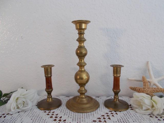 Vintage Gold Brass Unity Wedding Candle Holder Set Mid