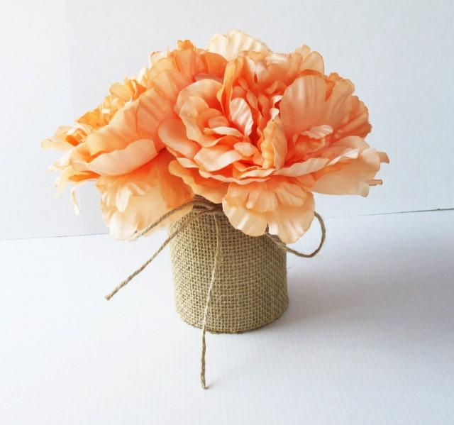 Orange Flower Arrangements For Weddings: Wedding Table Decor Creamy Peonies Decoration Soft Orange