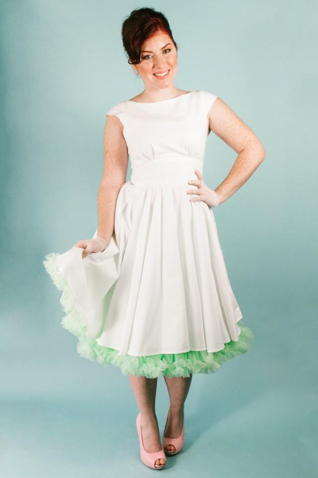 Short White Cotton Knee Length Short Wedding Dress With Pockets