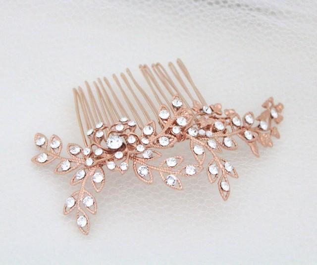 Hair comb in rose gold Rose gold Leaf Bridal Hair Comb Rose gold Leaf Headpiece