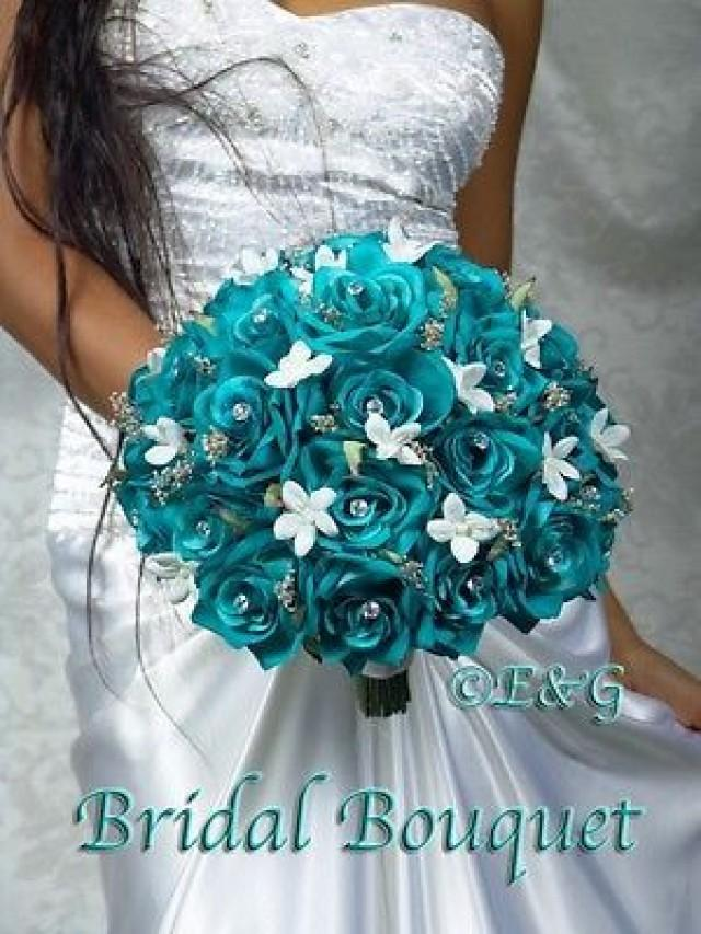 GORGEOUS ANGELINA TURQUOISE Wedding Bouquet Bouquets Bridesmaid Bridal Flowers 2543936