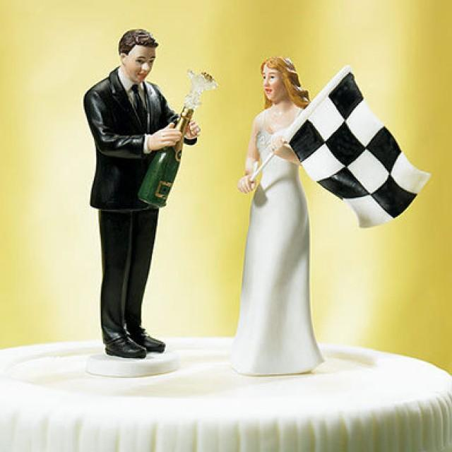 Bride At Finish Line With Victorious Groom Wedding Cake Toppers Mix ...