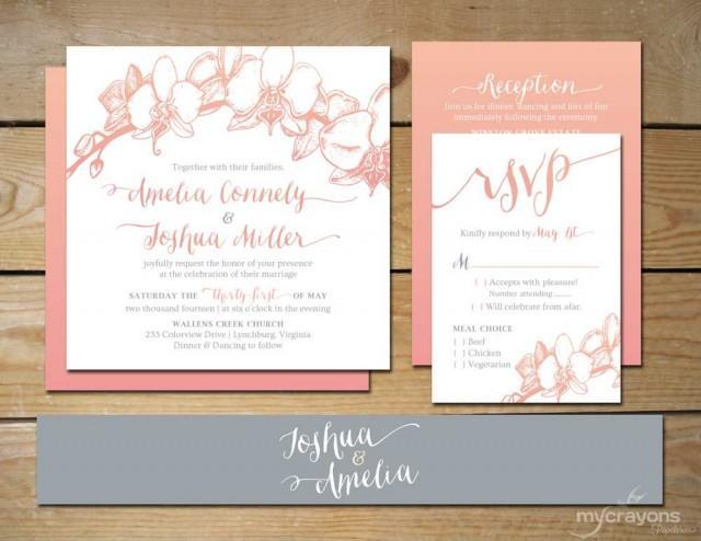 Blue Orchid Wedding Invitations: Ombre Orchid Wedding Invitation Set // DIY Printable
