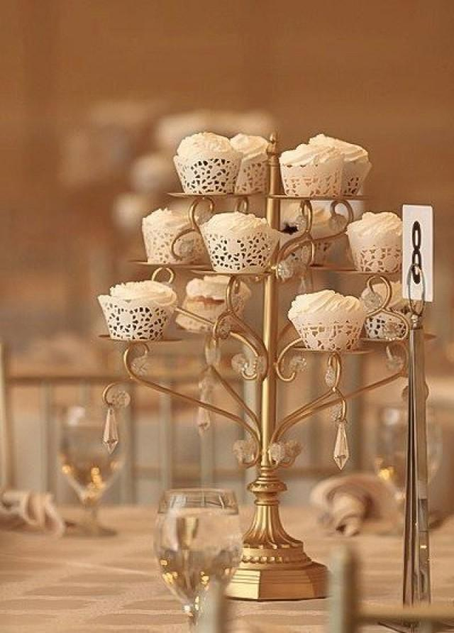 Gold Cupcake Candelabra Centerpiece Stand Crystal Gold Distressed