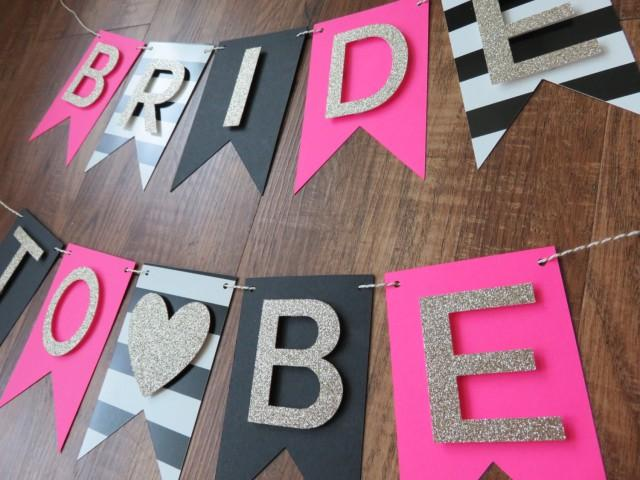 kate spade party theme bride to be banner pink gold black white decorations bridal shower banner 2545708 weddbook