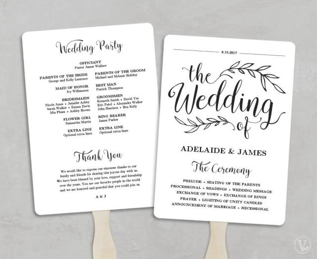 Printable Wedding Program Template, Fan Wedding Program, Kraft