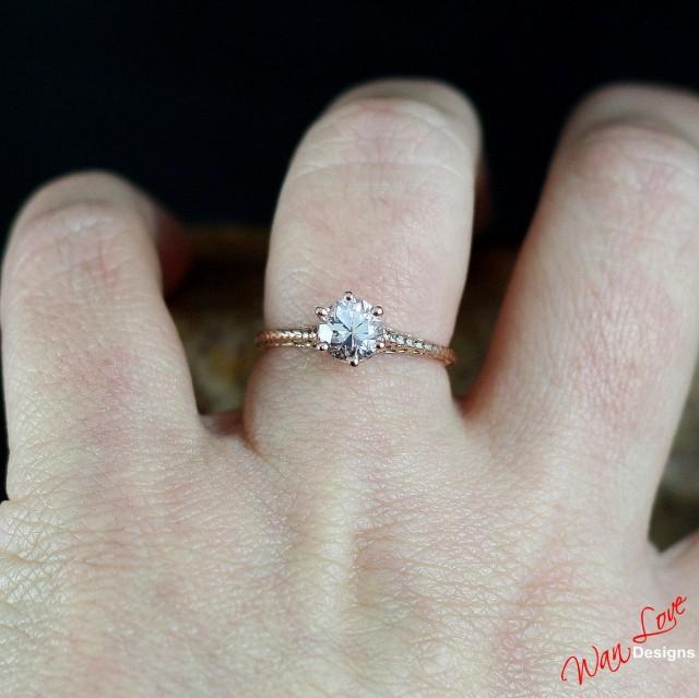 Natural Madeira Citrine Engagement Ring Set Citrine 14k Solid Rose Gold Bridal Ring Set Moissanite Wedding Ring Set Birthstone Promise Ring
