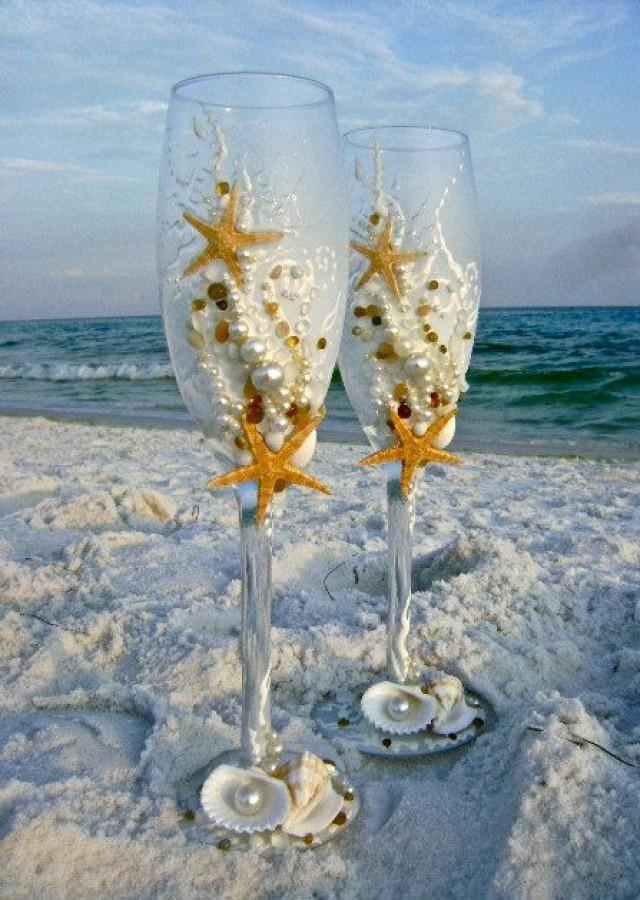 Starfish Wedding Champagne Glasses, Beach Wedding Toasting ...