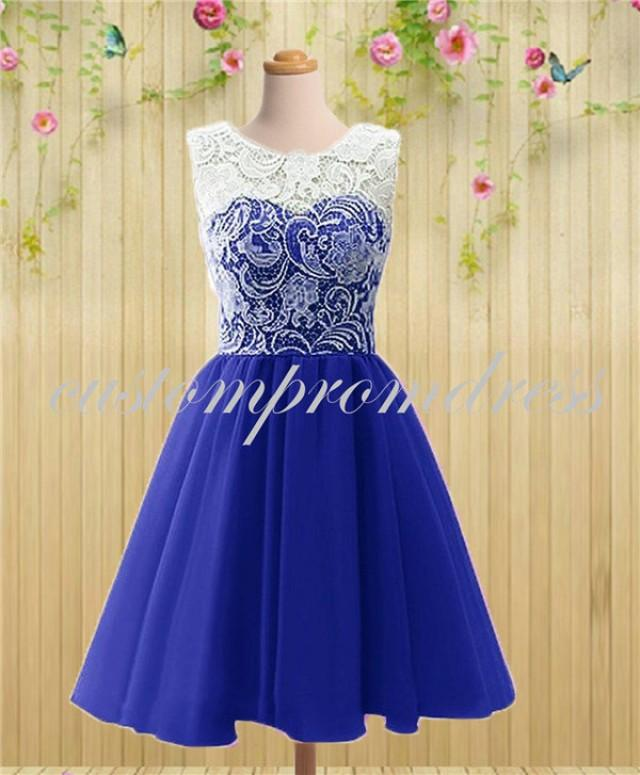 Royal Blue Short Prom Dress, White/Ivory Lace Prom Dress, Homecoming ...