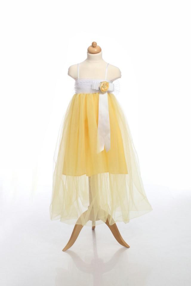 61c0bf2fee1 Tutu Flower Girl Dress,Belle Princess Dress, Yellow Girl Dress ...