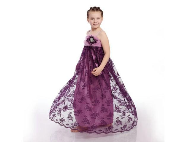"""Lace Flower Girl Dress,Purple Kid Gown,Kid Dress, Girl Dress For Special Occasions, Purple And Mave With Brooch """"PURPLE PRINCESS"""" #2546063 - Weddbook"""