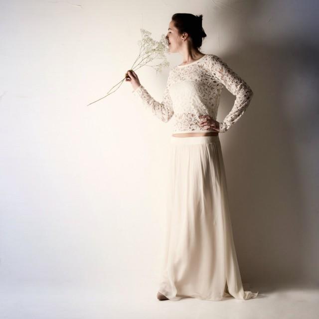 Lace wedding dress long sleeve wedding dress crop top for Crop top wedding dress