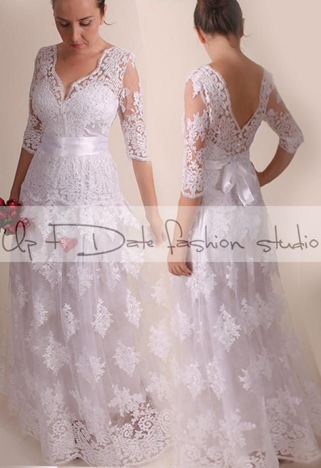 Lace Plus Size Vfront Back Long Mxi Wedding Partyreception