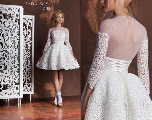 Short Wedding Dress DJEF, Tea Length Wedding Dress, Short