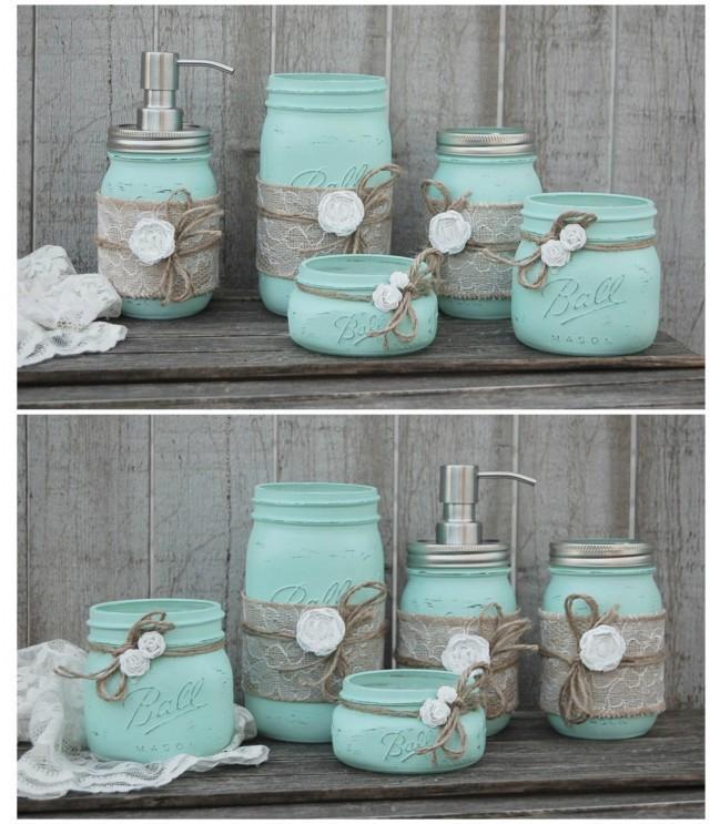 Bathroom Jar mason jar bathroom set, mint green, shabby chic, soap dispenser
