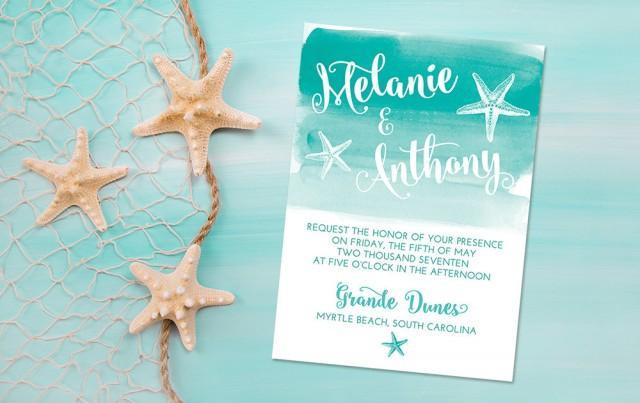 Printable Beach Wedding Invitations: Beach Wedding Invitation Card