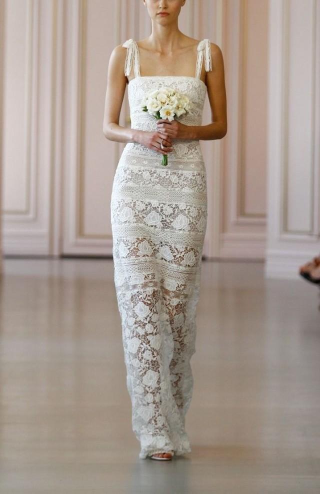 Oscar De La Renta \'Ellie\' Macramé & Lace Shoulder Tie Column Gown ...