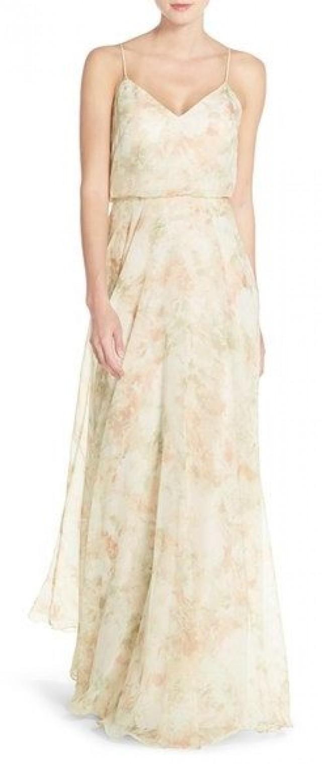 e98cd3b010 Jenny Yoo 'Inesse' Print Chiffon V-Neck Spaghetti Strap Gown #2548028 -  Weddbook