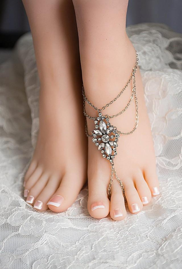 CZ Crystal Barefoot Sandals Foot Jewelry Barefoot Wedding Sandal