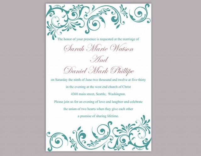 Wedding Invitations Software Free: DIY Wedding Invitation Template Editable Word File Instant