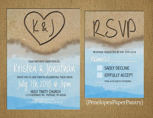destination beach wedding invitation heart in the sand with initials
