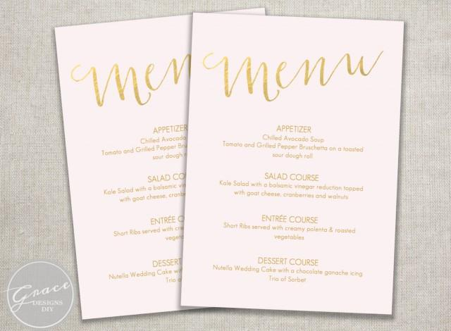 printable menu blush pink and gold slant  instant digital
