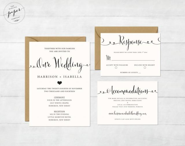 Wedding Invitations With Postcard Response Cards: Printable Wedding Invitation Set