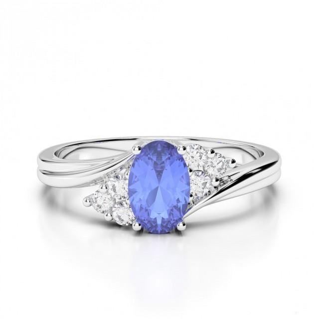 Diamond Engagement Ring With Tanzanite Side Stones