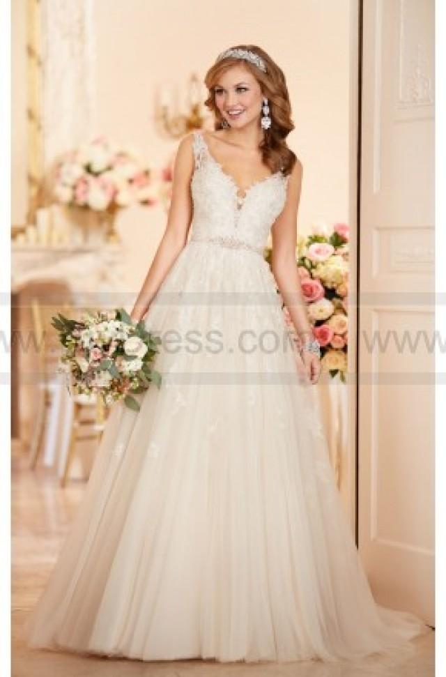 Stella york a line wedding dress with plunging neckline for Stella york wedding dresses near me