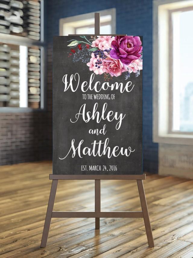 Printable Wedding Sign Welcome Wedding Sign Floral Wedding Sign Burgundy Wedding Sign Purple
