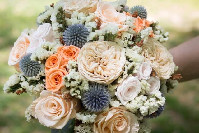 Rose Wedding Bridal Dried Flower Bouquet With Peach And Blue