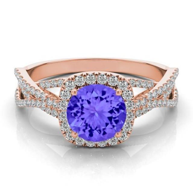 Tanzanite Amp Diamond Braided Ring 14k Rose Gold Tanzanite