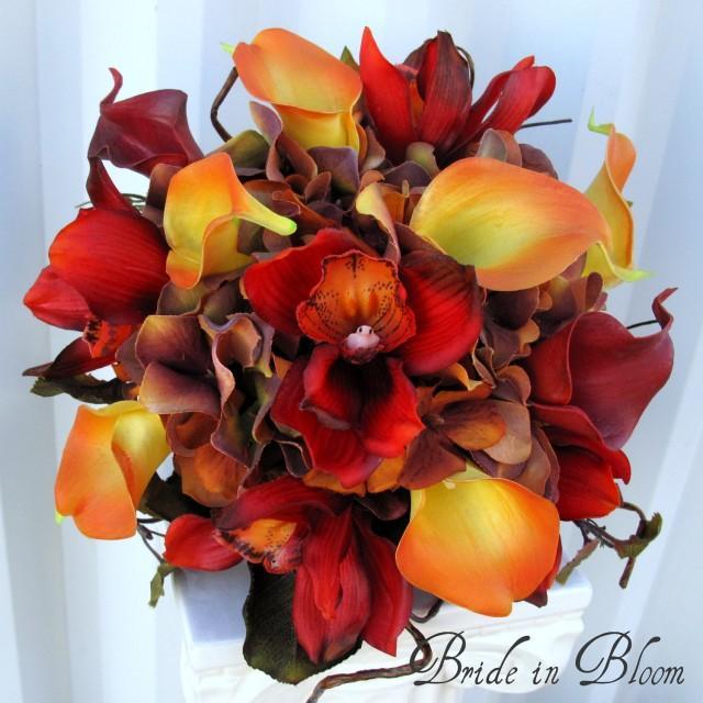Autumn Wedding Bouquet Bridal Bouquet Real Touch Orchids