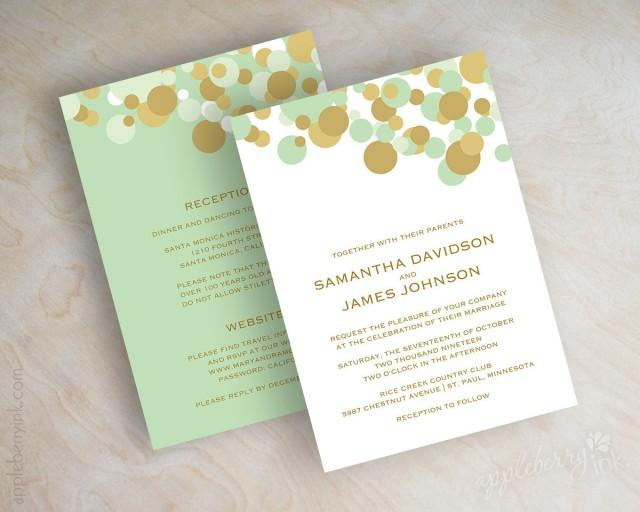 Mint Green And Gold Wedding Invitations