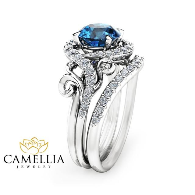 London Blue Topaz Engagement Ring Set Unique 14k White Gold Topaz
