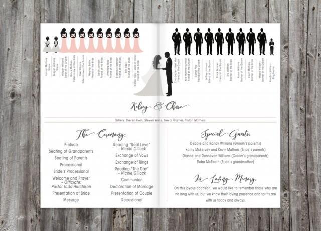 folding silhouette wedding ceremony program printable
