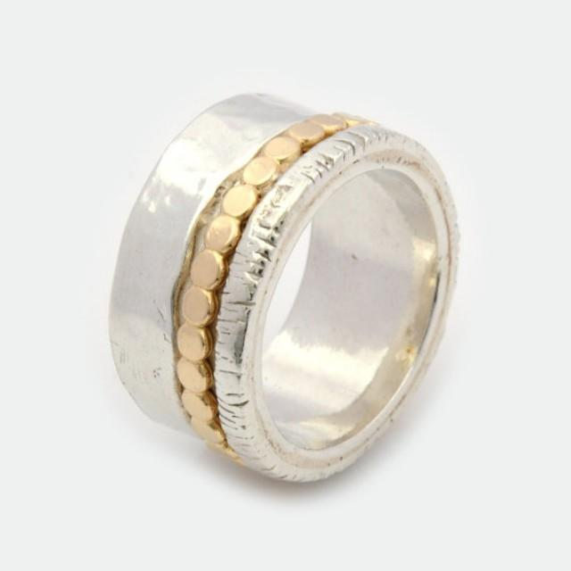Womens Spinner Ring Chunky Silver Ring Silver And Gold Spinner