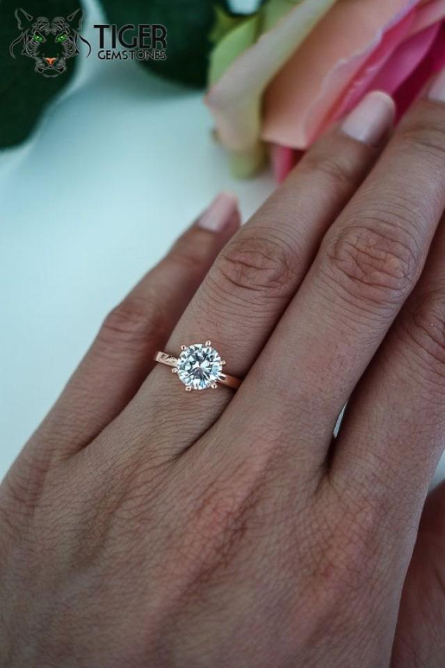 1 5 Ct Engagement Ring 6 Prong Solitaire Ring Man Made