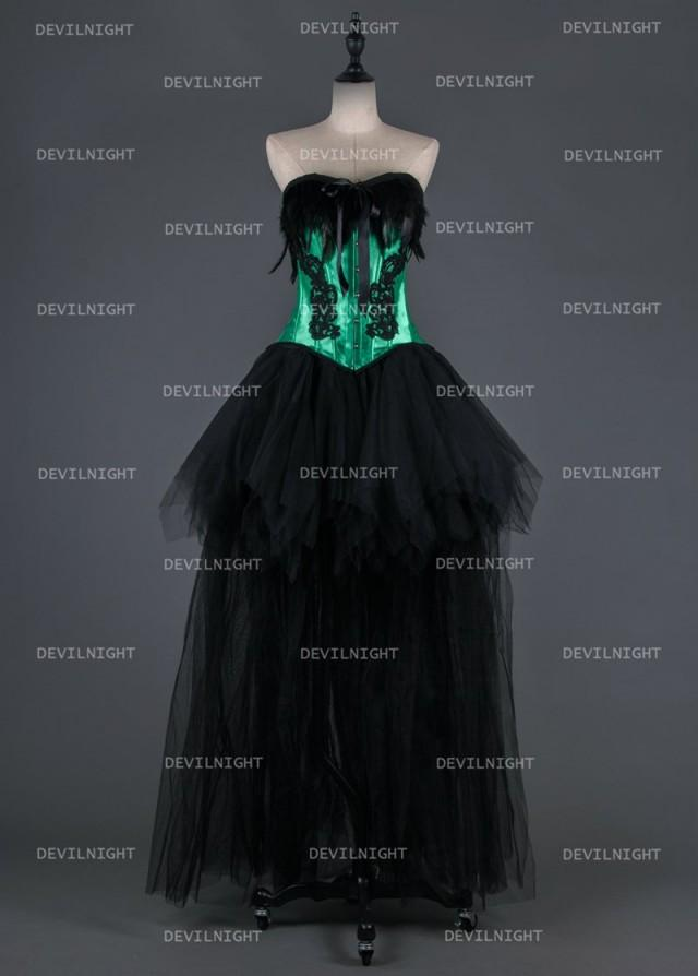 Black And Green Gothic Burlesque Corset Hign Low Prom Party Dress